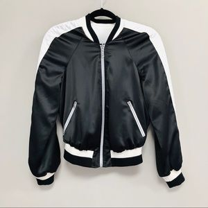 Jackets & Blazers - Black and White Reversible Baseball Jacket